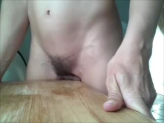Housewife Olvia rubbing pussy on the table