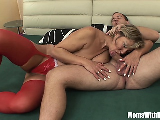 Napping Mature In Red Stockings Fucked By Stepson