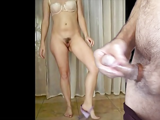 Soft to hard cock and cum as your hairy wife strips