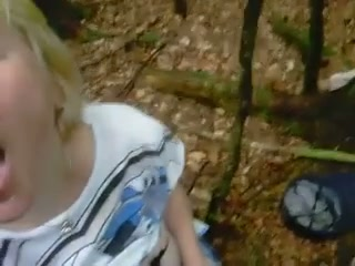 Short blond haired ugly mature slut was fed with sperm in the woods