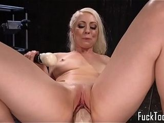 Cougar stunner ejaculations while jammed with fake penis