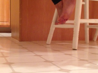 Spying on my wife's feet.