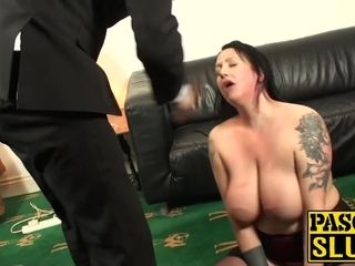 Rectally wedged mature mega-slut gasped and spanked by sir