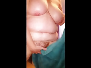 bbw wife drying her chubby hairy pussy