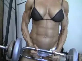Towheaded nymph Bodybuilder in observe through Top Works Out rigid