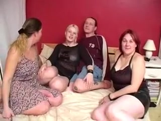 3 older ladies acquire screwed by 2 hunks.