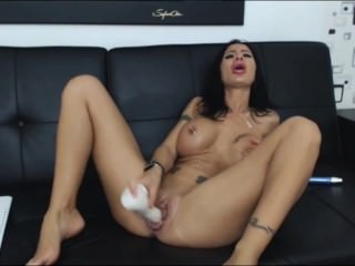 Hot LJ milf blackxxbarbie in nice show plays with her big clit and cums E3