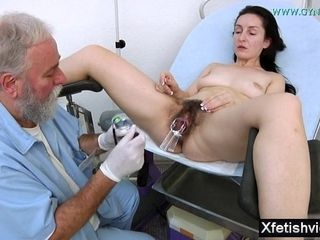 Wifey With unshaved fuckbox gynecology examination
