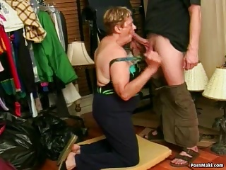 Granny Blowjob and Facial