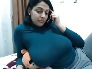 Sweet Indian MILF shows say no to chubby jugs coupled with masturbates alone