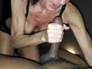 Gilf raw hand-job on big black cock