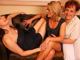 3 girl-girl housewives getting moist on the couch