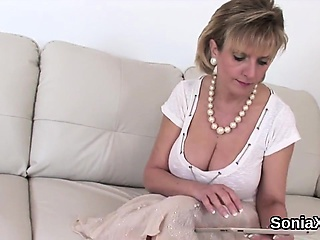 Unfaithful english milf lady sonia presents her oversized ba