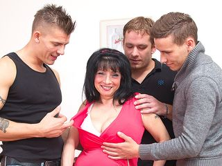 Hefty titted housewife taking on three men