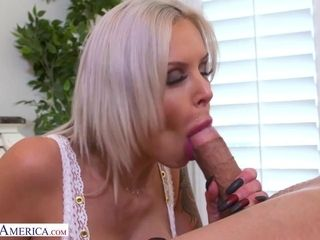 Alluring mummy with ample titties Aubrey dark-hued smashes with boy