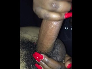 Dark-hued fellow with phat wood gets hand job