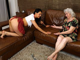 Wooly grandmother getting gobbled by a super-hot youthfull girl-on-girl stunner
