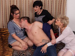 Three wondrous mature ladies share the young cleaner&#0three9;s massive man meat
