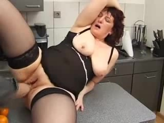 German saggy mature with toys and cock
