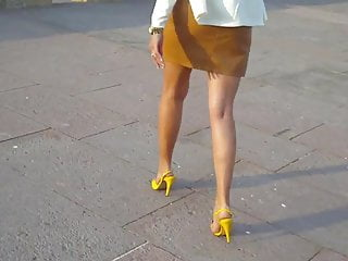 11 ambling around in yellow strappy high heel sandals v2