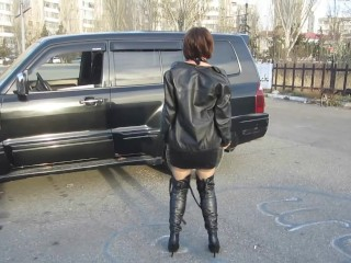 Cougar in spandex sundress and leather footwear