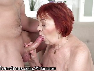 LustyGrandmas plumper ginger-haired GILF licks butthole backside of youthfull fellow
