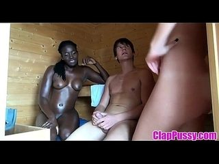 Hot Threesome in Sauna Met an Ebony - more on ClapPussy.com