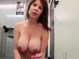 Busty office MILF strips and wanks cock POV