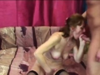 Slutty granny can't stop sucking dick