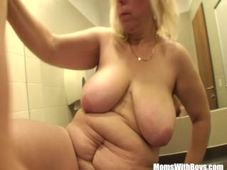 Blonde Mature Fucked In A Public Mall Restroom