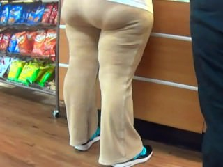 Thick Latina BBW Ass In Skin Tight Yoga Pants w/ VPL
