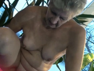 Horny granny in the pool