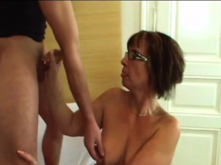 Glasses old lady Jana banged by young cock