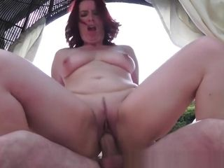 Sandy-haired grannie rails firm pink cigar Outdoors