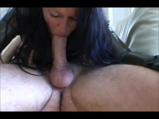 Brunette Cougar Gives a Sloppy Blowjob