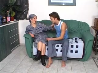 A slutty granny takes a break from cleaning to indulge her passion for cock.