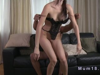 Slim milf with big ass fucking on the couch