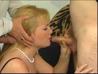 Black lingerie on this elegant cocksucking blonde