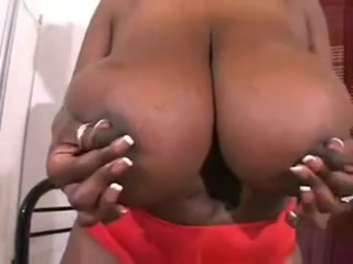 Black Power Mom show her Giant Tits