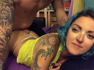 Blue Haired stoner wifey gets high and gets culo job from my mates immense salami