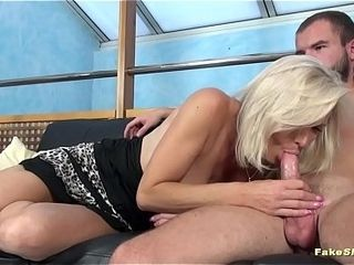 Molten light-haired milf with incredible assets fellates pecker