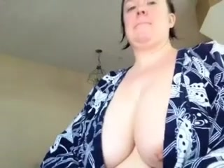 Busty teacher lets her tits hang out on cam pt1