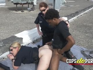 Insane voyeurism tom is caught and taken to rooftop by insane cougar cops