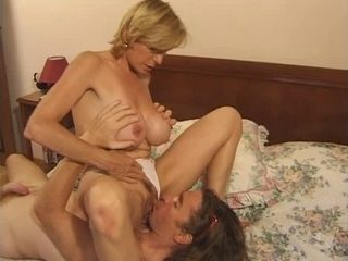 Busty old and horny granny fucking with a younger cock