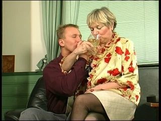 Blonde mature enjoys a hot young cock deep in her cunt