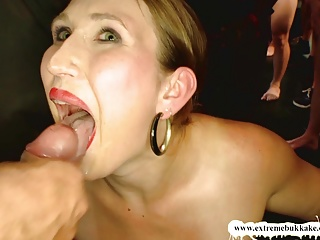 Naughty Mom can't Stop sucking cocks! - Extreme Bukkake