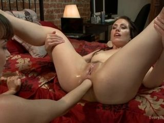 Youthfull mummy gets her mini-rosebud fisted and nailed with a gigantic assfuck butt-plug