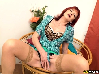 Nasty mature Irena frolicking with herself
