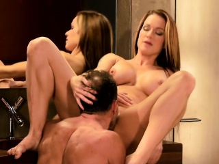 Busty mature pussy banged in bathroom