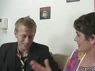 Old bitch swallows his stiff young dick